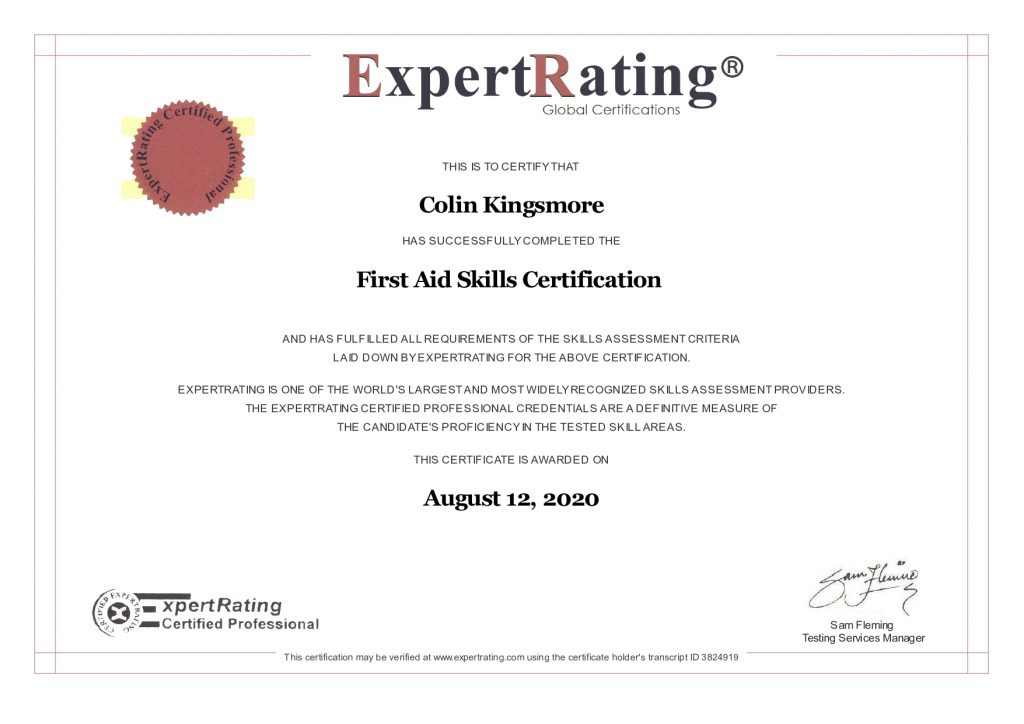First Aid Skills Certificate